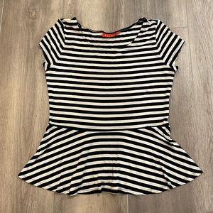 Elle striped peplum t-shirt size medium super cute